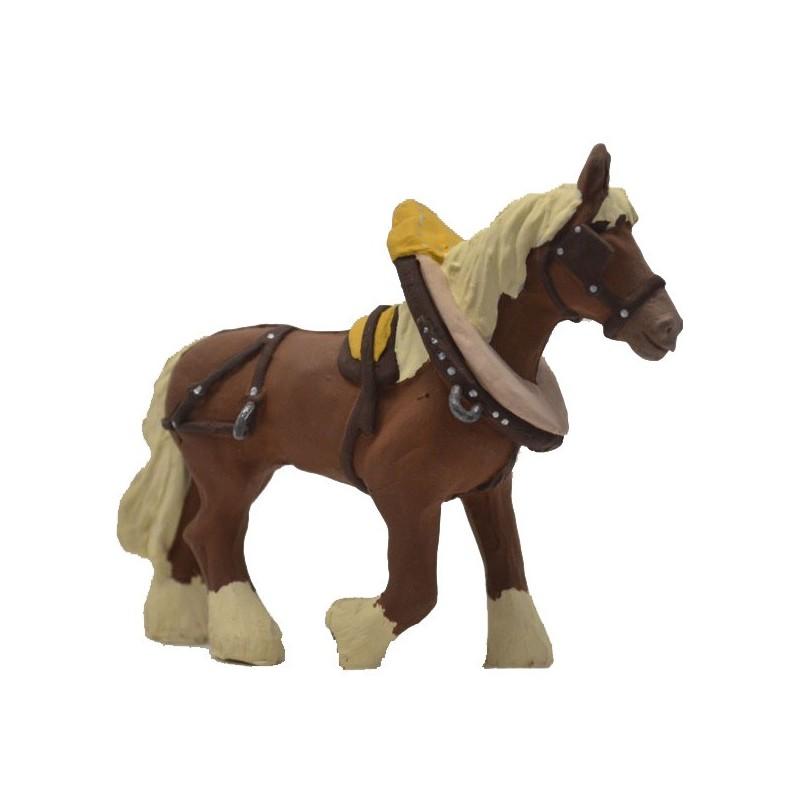 cheval de trait marron crinière beige modèle N°3