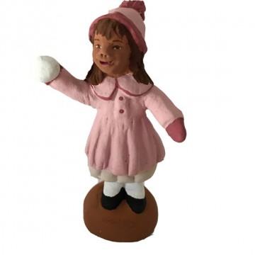 Petite fille et sa petite boule de neige